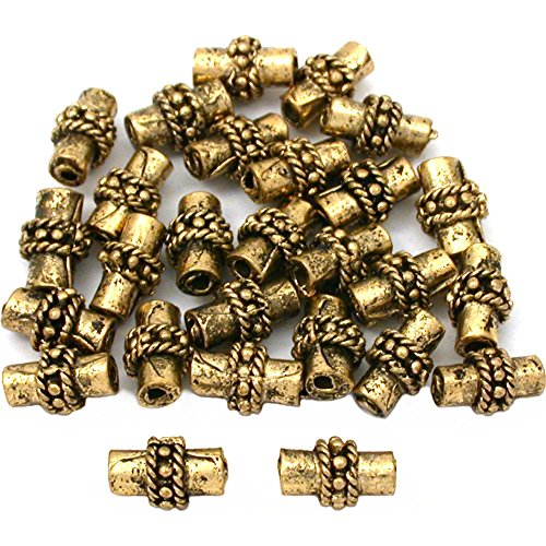 15g Bali Rope Tube Bead Antq Gold Plate 8.5mm Approx 25 ()
