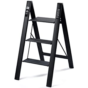 Delxo 2 in 1 Lightweight Aluminum 3 Step Ladder Stylish Invisible Connection Design Step Ladder with Anti-Slip Sturdy and Wide Pedal Ladder for Photography,Household and Painting 330lbs 3-Feet(Black)