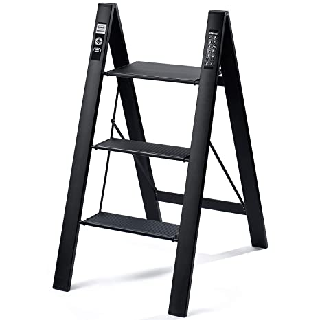 Wondrous Delxo 2 In 1 Lightweight Aluminum 3 Step Ladder Stylish Invisible Connection Design Step Ladder With Anti Slip Sturdy And Wide Pedal Ladder For Beatyapartments Chair Design Images Beatyapartmentscom