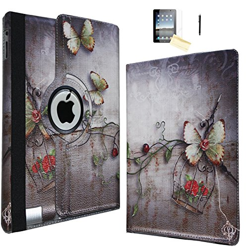 JYtrend Smart Case Compatible iPad 9.7 2018/2017 for A1893 A1954 A1822 A1823 MP2G2LL/A MP2J2LL/A MPGT2LL/A MP252LL/A MPGA2LL/A - Rotating Stand Magnetic Auto Wake Up/Sleep Cover (Butterfly ()
