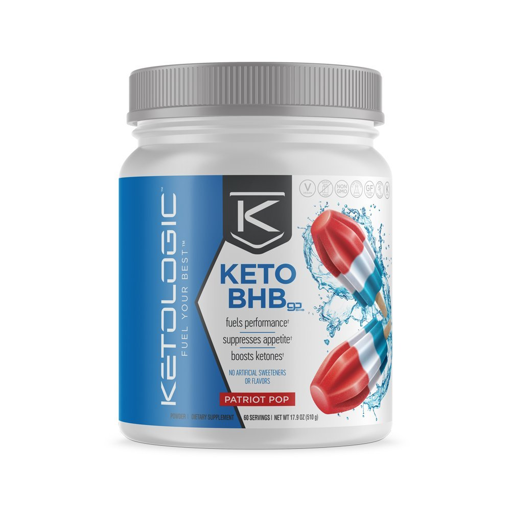 KetoLogic BHB,  Patriot Pop | Ketone Supplement, Suppresses Appetite, Increases Energy, Low Carb, Electrolytes, Beta-Hydroxybutyrate Salts | 60 Servings by Ketologic (Image #1)