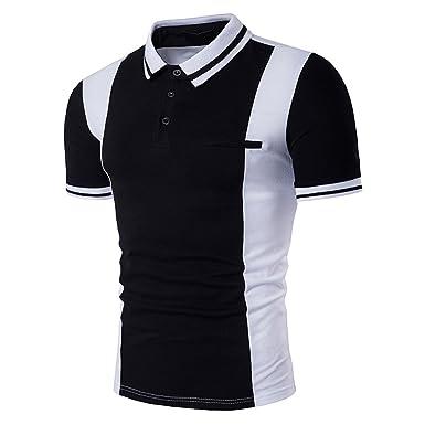 5be4b80df Enrica Men's Casual Short Sleeve Color Block Plain Polo Shirts at ...