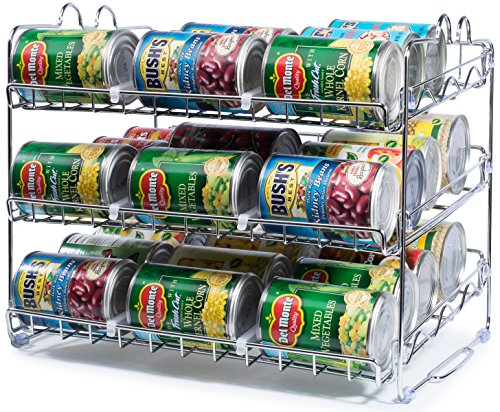 Stackable Can Rack Organizer, Storage for 36 cans – Great for the Pantry Shelf, Kitchen Cabinet or Counter-top. Stack Another Set on Top to Double Your Storage Capacity. (Chrome Finish)