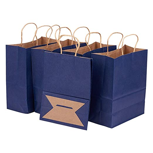 BENECREAT 30 Pack Bolsas de Regalo de Papel Kraft con Asas Compras, Mercancía, Venta al por Menor, Fiesta, Boda, Papel 100% Reciclado Azul Oscuro