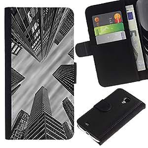 For Samsung Galaxy S4 Mini i9190 MINI VERSION!,S-type® City Architecture Nyc Boston White - Dibujo PU billetera de cuero Funda Case Caso de la piel de la bolsa protectora