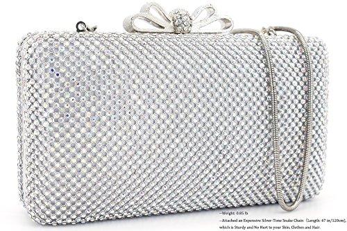 Ab DEXMAY cristaux Pochette Femme avec soirée DM strass Silver de rraq8P