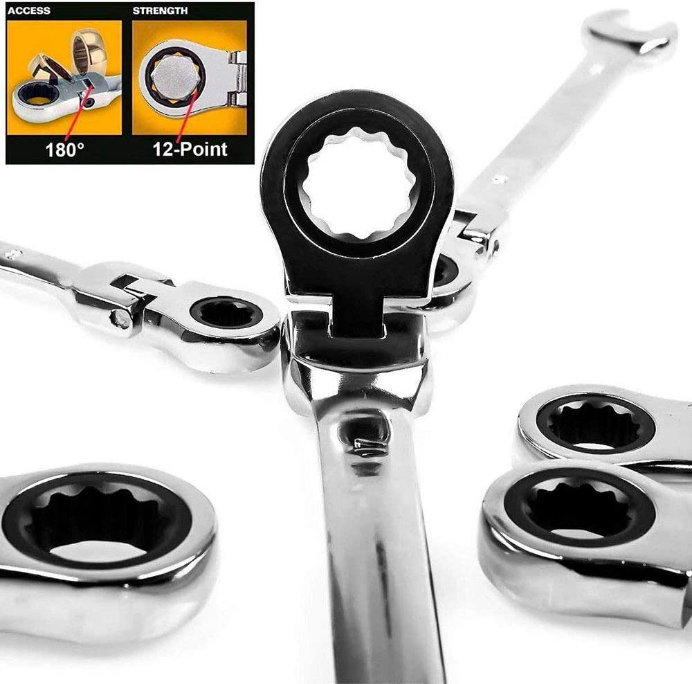 KGLOPYE Wrench Flexible Ratchet Wrench nut Tool Head Ratchet Metric Wrench Open end Wrench and Ring Wrench Tool Size 8mm-13mm,1 Set (8,13MM) 1 Set (8-13mm)