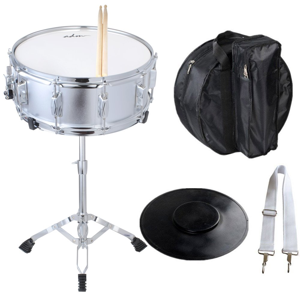 ADM Student Snare Drum Set with Case, Sticks, Stand and Practice Pad Kit, Shiny Silver