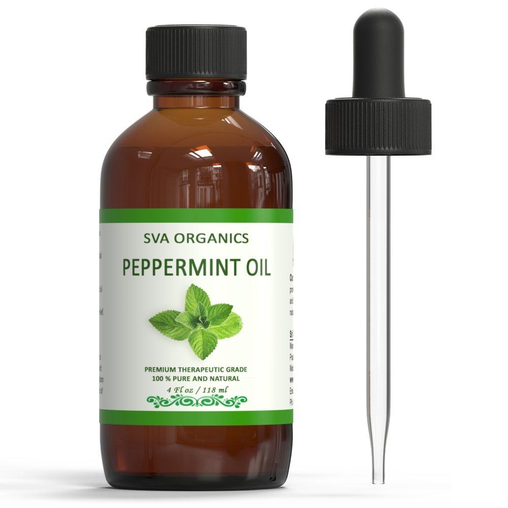 SVA Organics 100% Natural Peppermint Essential Oil -Therapeutic Grade Aromatic Oil, 4 Fl Oz with Dropper | Natural Aromatherapy Oils by SVA ORGANICS