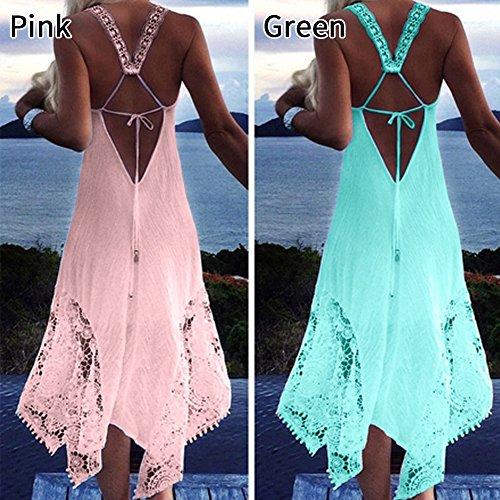 Shineya Women Sexy Ladies Sleeveless A-Line Beach Asymmetrical Hem Lace Crochet Dress at Amazon Womens Clothing store: