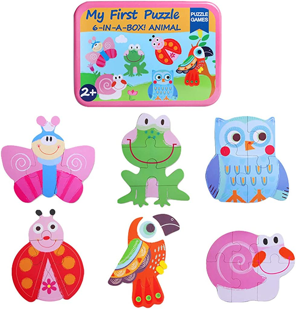 SIN vimklo 6 in 1 Kids Animal Cartoon Wooden Traffic Puzzle Early Childhood Educational Toys
