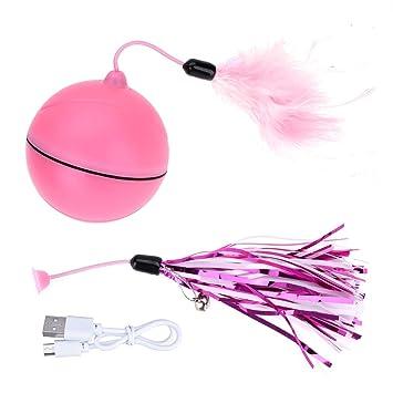 X-Mile Bola de Carga USB automática para Gatos Juguete Rotación Automática para Ejercicios de Interacción con Pluma Desmontable Diámetro 6,4 cm Rosa: ...