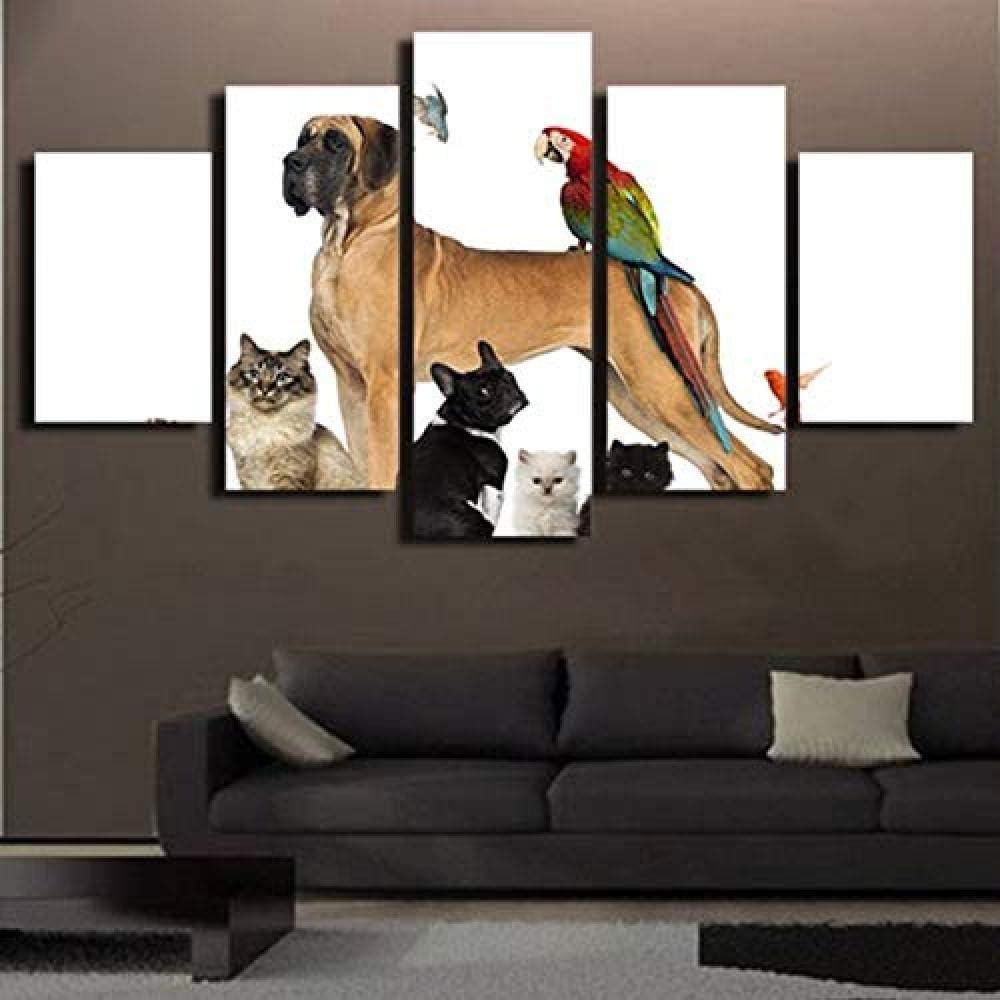 JWLSDT 5 Lienzos Mascota Perro Loro Y Gato Arte De La Pared Pintura Sala De Estar Decoración para El Hogar Fotos Marco De Madera