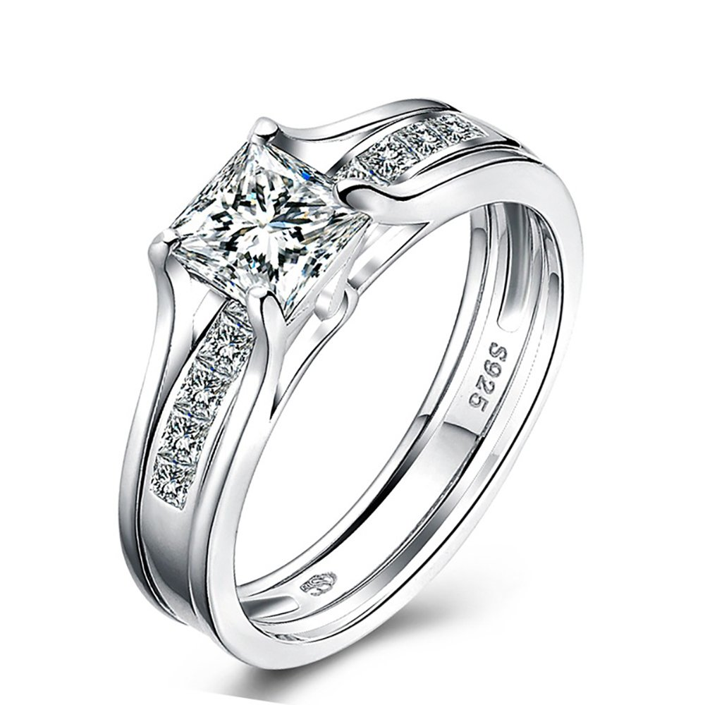 Tidoo Jewelry Solid 925 Sterling Silver Wedding Anniversary Engagement Ring Set Vintage Style Princess