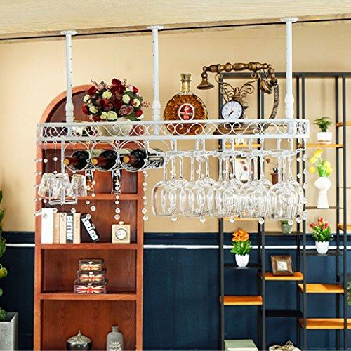 Briskaari Store- Crystal Wine Glass Rack Retro Iron Water Pipe Creative Hanging Cup Holder Bar Decoration Upside Down Bottle Shelf