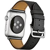 Apple Watch Band Wollpo® 本革 交換バンド 高級 レザー ビジネス用 腕時計ベルト Real Leather Watchband for Apple WatchApple Watch 本革 交換バンド 高級 レザー ビジネス用 腕時計ベルト Real Leather Watchband for Apple Watch (42mm, 黒)