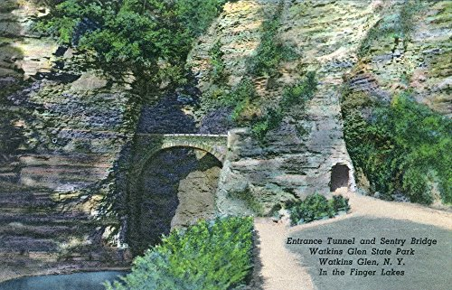 (Watkins Glen, New York - State Park Entrance Tunnel and Sentry Bridge View (24x36 SIGNED Print Master Giclee Print w/Certificate of Authenticity - Wall Decor Travel Poster))