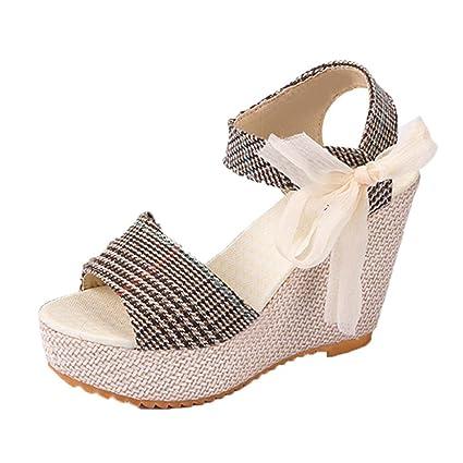 Sandalias mujer, Manadlian Sandalias de mujer Zapatos casuales Tacones de cuña Verano Zapatos de boca