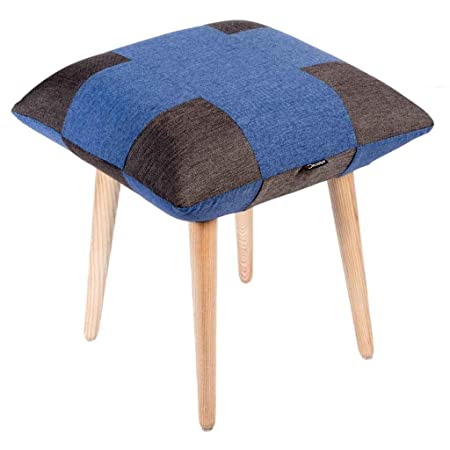 Decostyle PU Foam Quad Stool with Solid Wood Legs for Living Room/Bed Room