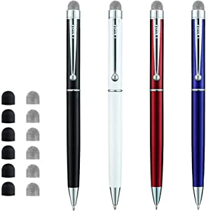 ChaoQ Stylus Pen, 4 Pcs Hybrid Mesh Fiber Tip Stylus Pens and Ballpoint Pens for Touch Screen Devices with 6 Extras Mesh Fiber Tips 6 Rubber Tips (4 Pens and 12 Tips) - Black, White, Red, Blue