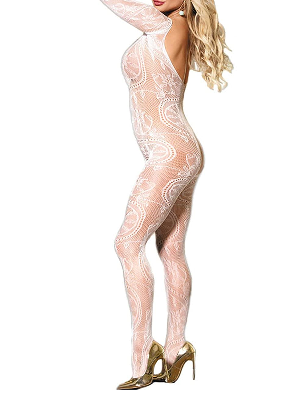 8c96ef4d3ee Amazon.com  Lookswe Fishnet Bodystockings Women Sexy Half Sleeve Mesh Lingerie  Clubwear Fit S-XXL  Clothing