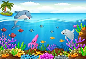Yeele 10x8ft Cartoon Shark Background for Photography Hammerhead Shark Tropical Fish Wave Bubble Photo Backdrop Pictures Studio Props Wallpaper