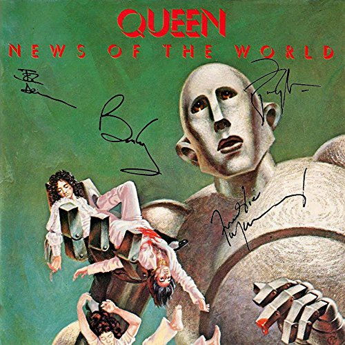 Queen Signed Autographed New Of The World Record Album Cover LP Autographed Signed Facsimile