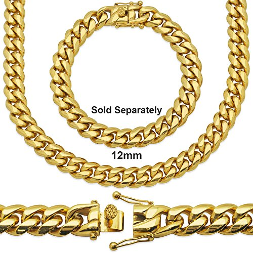 Premium 14KT Gold Plated Stainless Steel Heavy Solid Miami Cuban Link Chain. Secure Box Lock. 30'' Necklace or 8.5'', 9'' Bracelet by Sterling Manufacturers