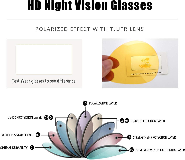 100/% Protecci/ón UVA UVB TJUTR Fotocromaticas Gafas de Sol para Conducci/ón Nocturna Polarizadas Hombre Marco de Metal Anti Reflectante Gafas Nocturna