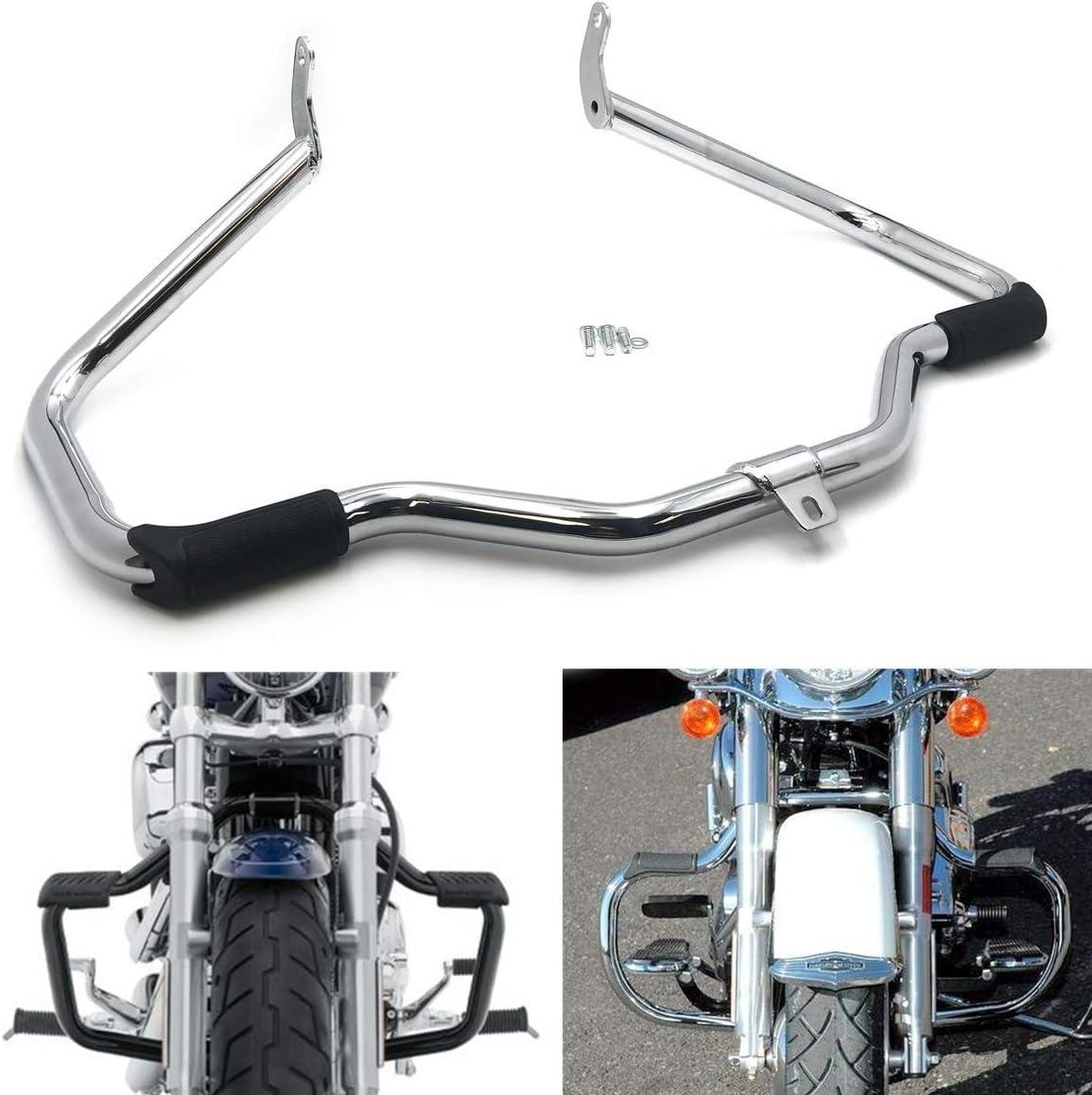 XKH Compatible with Gloss Black Engine Guard SOFTAIL Fat Boy FLSTF Harley Highway Crash Bar 00-17 B07NSGLCDX