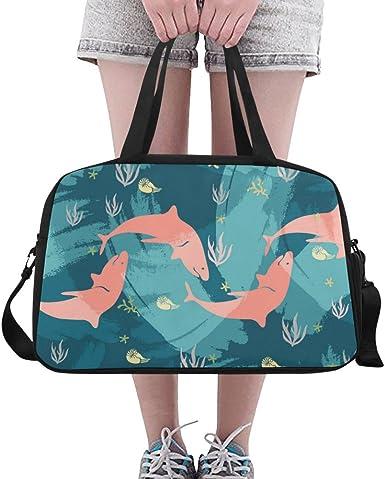 InterestPrint Waterproof Travel Bag Sports Duffel Tote Overnight Bag Ocean and Dolphins