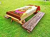 Ambesonne Sacred Outdoor Tablecloth, Bohemian Yoga Meditation Spiritual Ancient Mythological Character Religion Temple, Decorative Washable Picnic Table Cloth, 58 X 104 inches, Multicolor