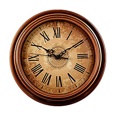 SonYo Silent Non-ticking Round Wall Clocks (12 Inches) Decorative Vintage Style Roman Numeral Clock