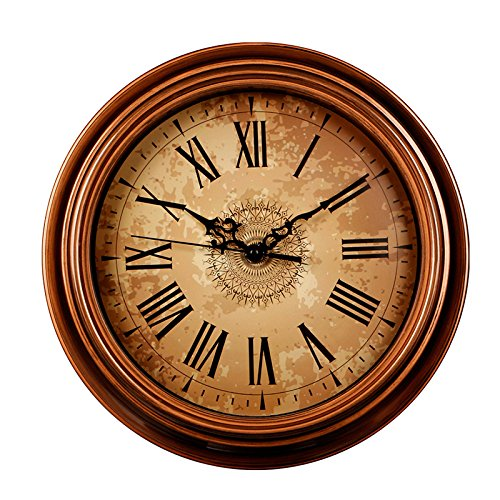 SonYo Silent Non-ticking Round Wall Clocks (12 Inches) Decorative Vintage Style Roman Numeral Clock (Antique Brown Wall Mirror)