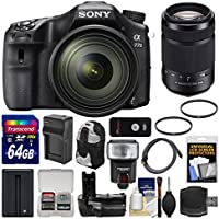 Sony Alpha A77 II Wi-Fi Digital SLR Camera & 16-50mm Lens with 55-300mm Lens + 64GB Card + Backpack + Flash + Battery/Charger + Grip + Kit