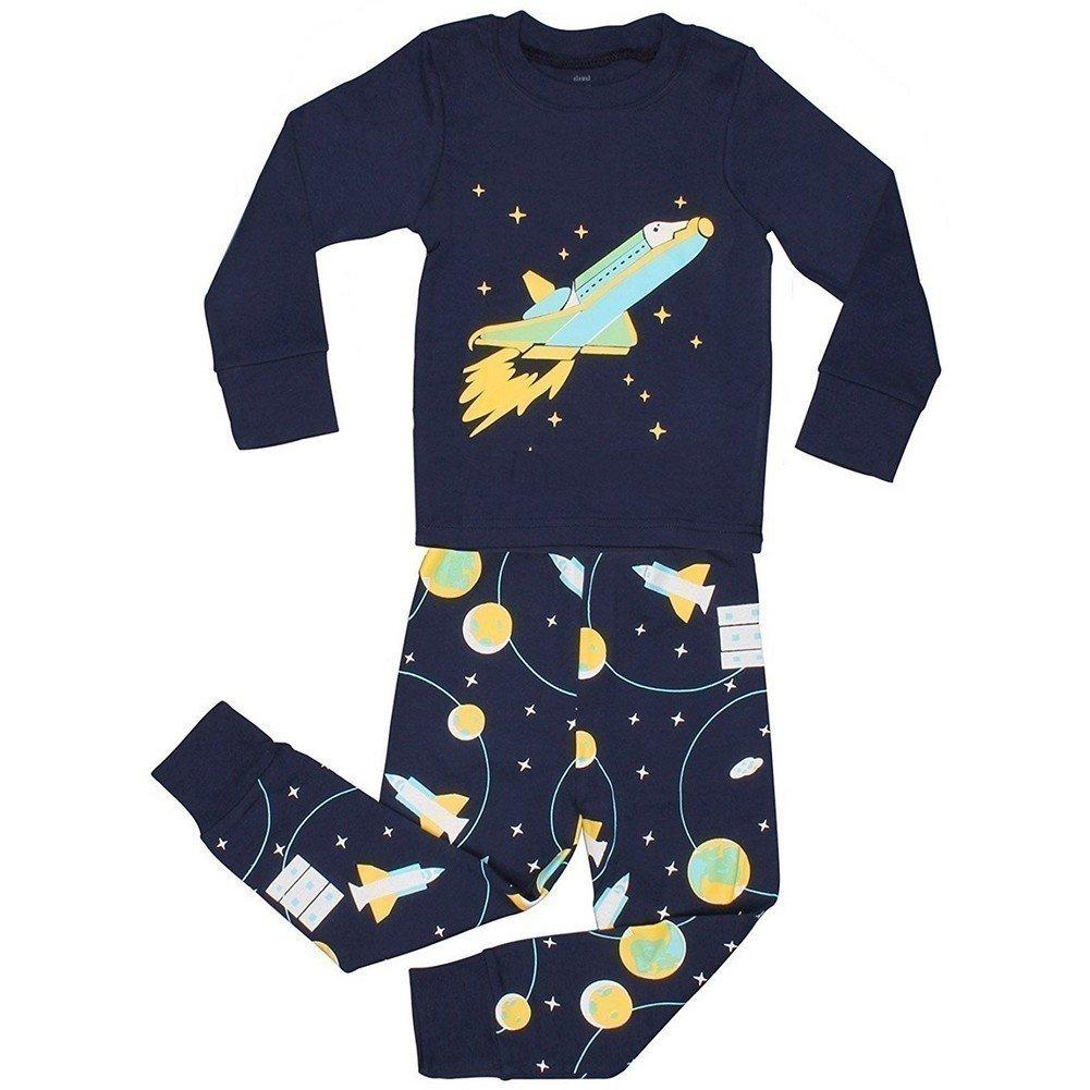 Elowel Little BoysSpace Rocket 2 Piece Pajama Set 100% Cotton (Size2Y-12Y) Elowel Pajamas spacerocket00