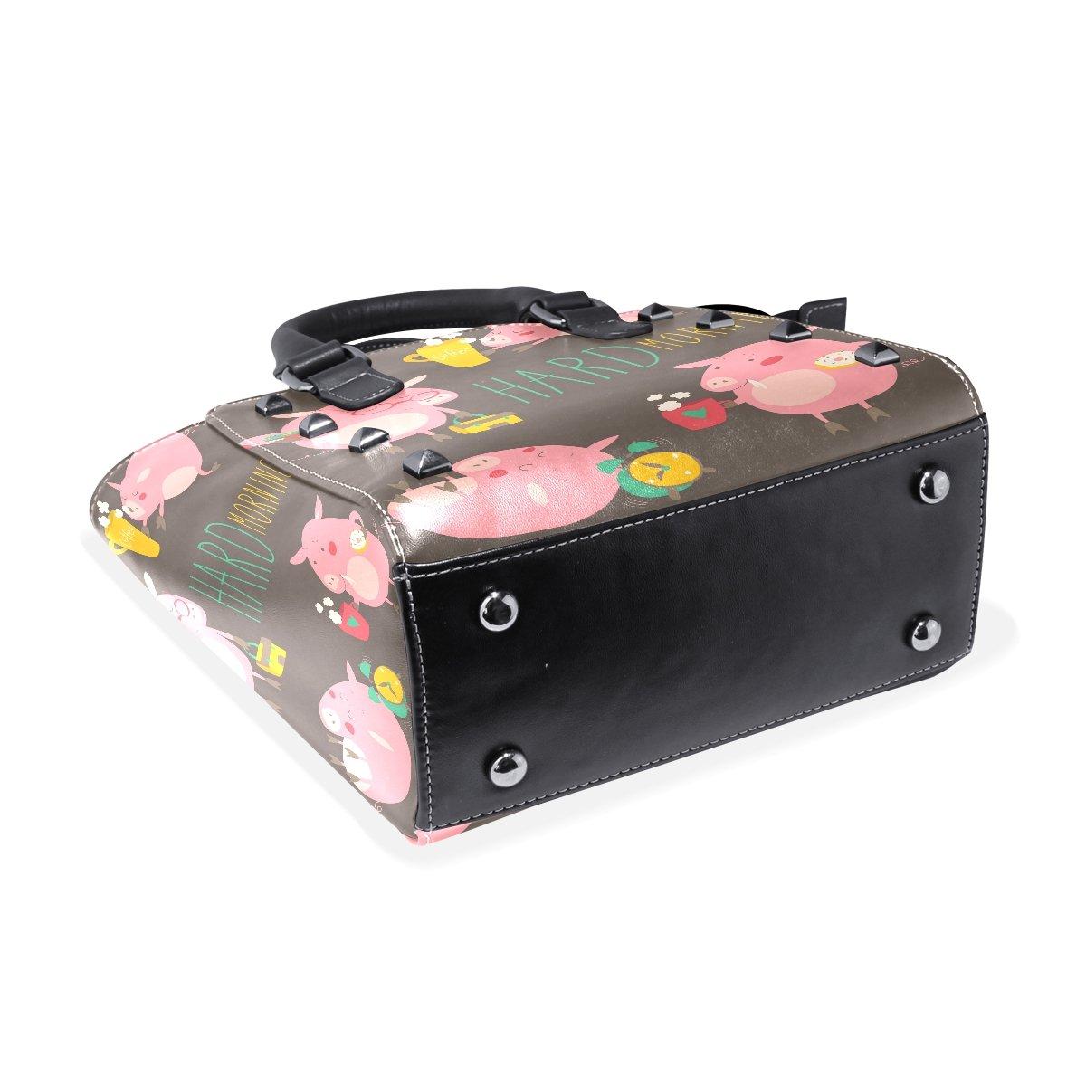 Jennifer PU Leather Top-Handle Handbags Pink Pig Hard Morning Single-Shoulder Tote Crossbody Bag Messenger Bags For Women