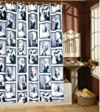 """Amariver 72""""×72"""" Mildew Resistant Marilyn Monroe Waterproof Fabric Shower Curtain, Retro Black and White, Comes with 12 Hooks"""