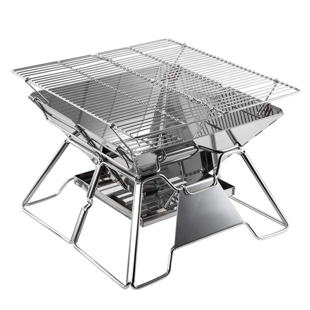 LYY Outdoor Stainless Steel Folding Charcoal Grill, Portable Camping BBQ with 2 Height Adjustment, Suitable for 3-5 People
