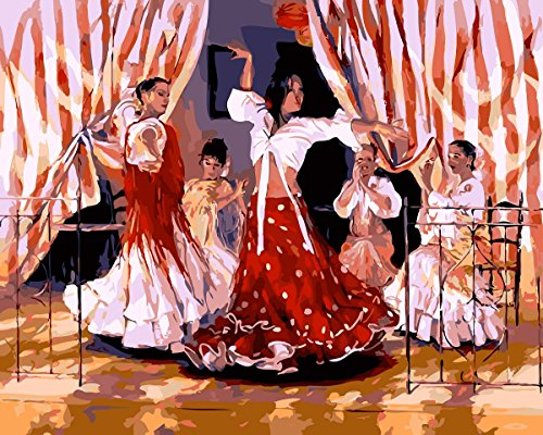 Oil Painting for Adults Kids Paint By Number Kit Digital Oil Painting The Spanish Dancers 16X20 Inches