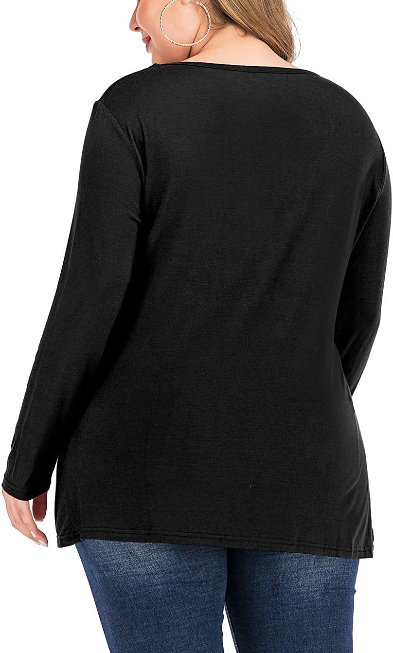 YASAKO Womens Pleated Tops Plus Size V-Neck Lace Blouse Swing T-Shirts Flowy Long Sleeve Casual Tunic