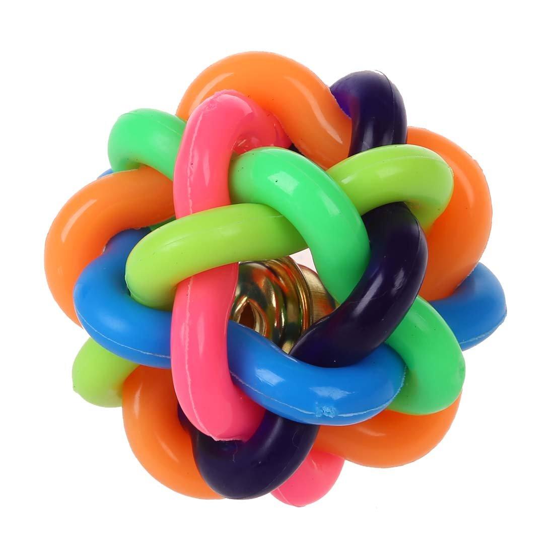 SODIAL (R) Taille de 4.5cm Cat Pet Puppy Dog Rainbow Color caoutchouc de Bell balle jouet sonore ballon rond SODIAL(R)