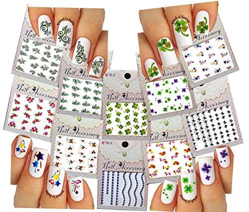 (Nail Art Water Slide Tattoos ♥ Flowers / Butterflies / Clover ♥ 10 - Pack)