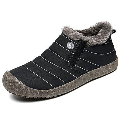 Men Women Fur Lined Outdoor Slippers Slip On Ankle Snow Boots Winter Waterproof Lightweight Booties