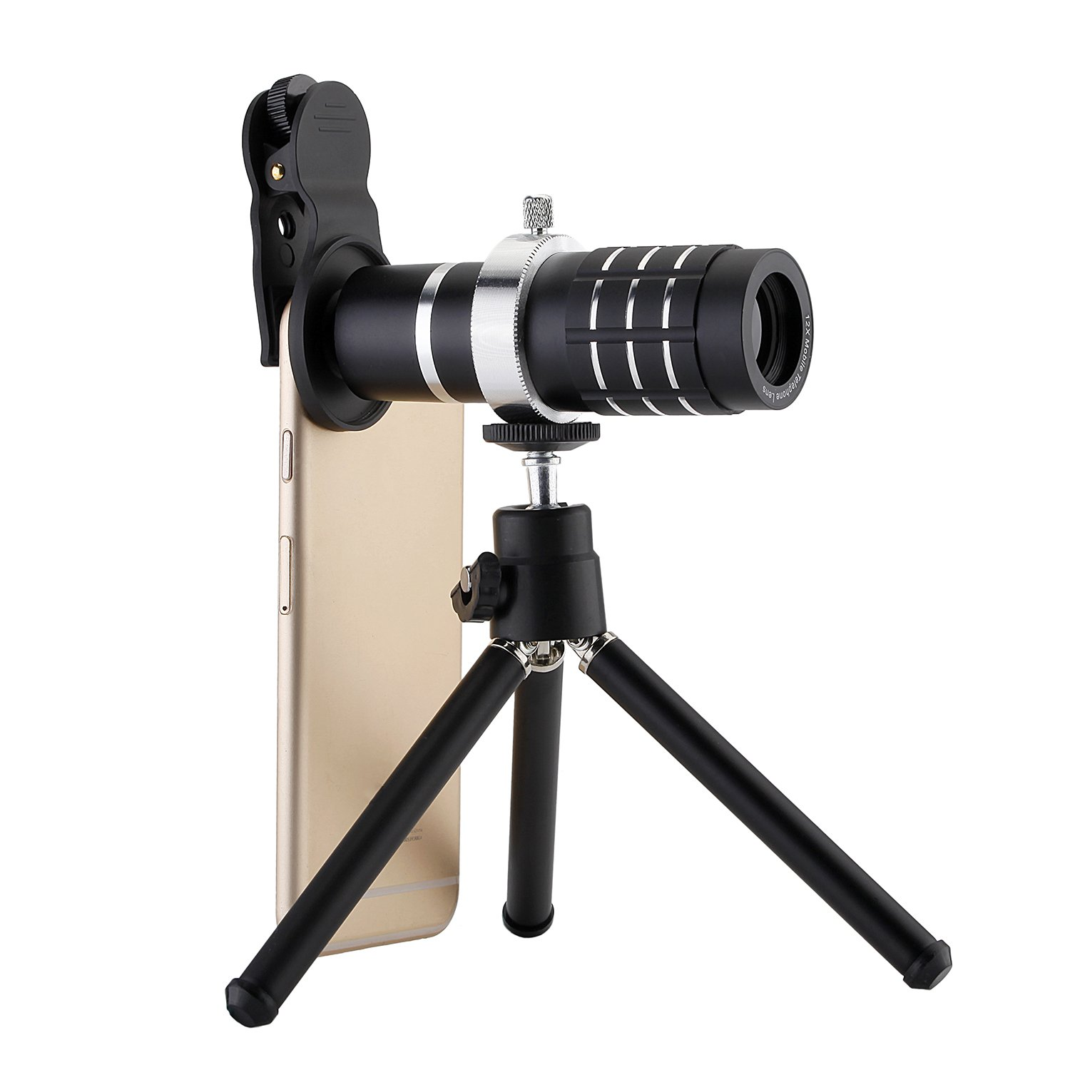 SODIAL Camera Lens Universal Clip-On Phone 12X Optical Zoom Telephoto Lens for iPhone Samsung Huawei Ipad Tablet PC Laptops(Black)