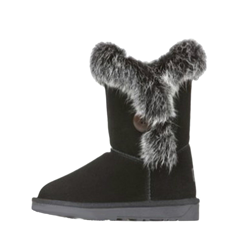 Fashiondiary Women's Autumn Rabbit Fur Snow Boots 3 Colors 6 Sizes Black 40 EU
