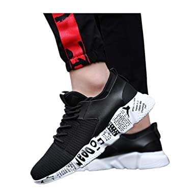 5765f7c208d5 Women s   Men Sneakers Mesh Outdoor Sport Walking Running Shoes Breathable  Lightweight Athletic (Black -