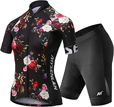 Women Bike Padded Wear Bicycle Set Short Sleeve Cycling Sport Jersey Shorts Suit