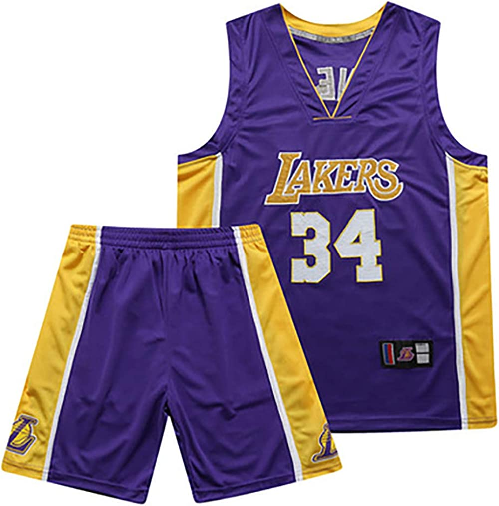 Los Angeles Lakers 34 # Shaquille ONeal Jerseys de Baloncesto para hombre Cool Mesh Transpirable Swingman Basketball Jerseys 90s Hip Hop Ropa Deportiva
