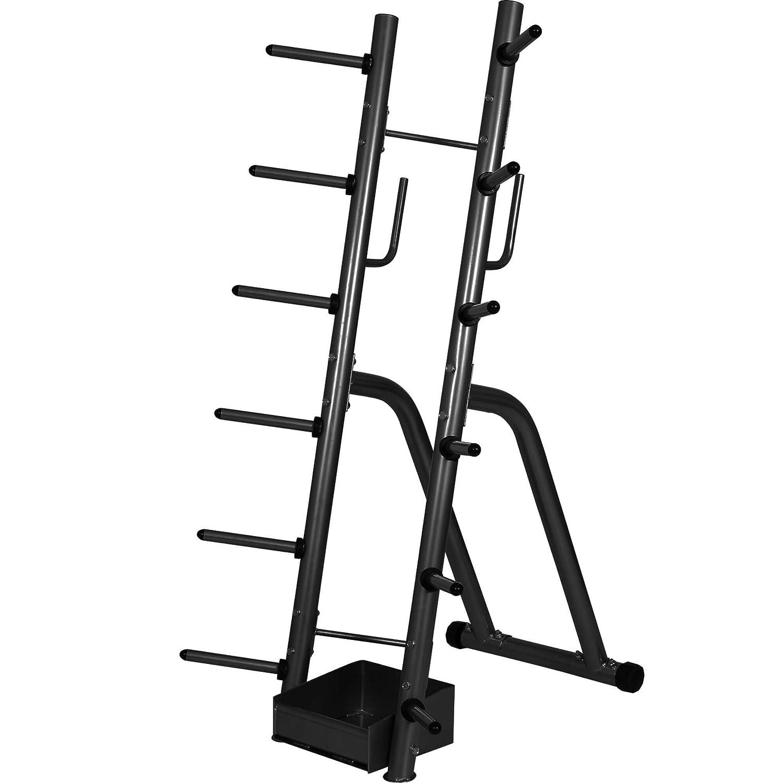 GORILLA SPORTS® Hantelständer Schwarz bis 300 kg belastbar – Ablage für Langhantelstangen, Gewichtsscheiben und Zubehör